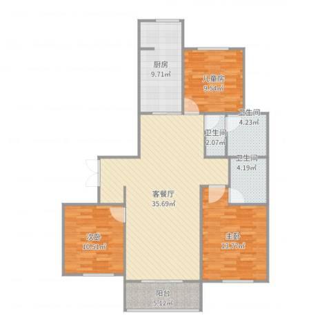 华邦国际3室2厅3卫1厨119.00㎡户型图