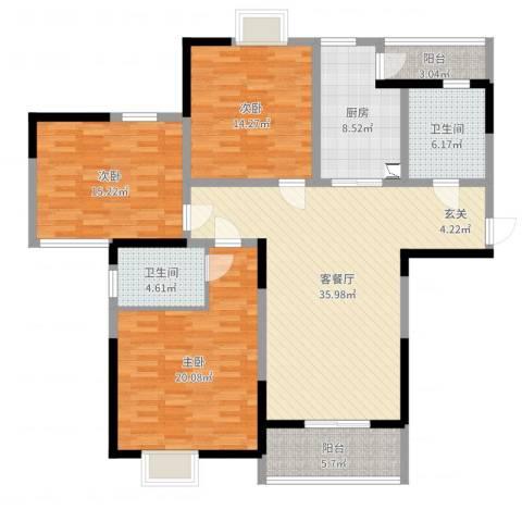 龙惠花苑3室2厅2卫1厨142.00㎡户型图