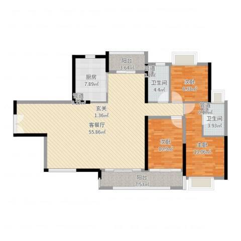 珠光御景湾3室2厅2卫1厨145.00㎡户型图