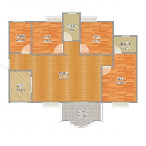 桃花源华轩居小区d2栋楼4室2厅2卫1厨120.00㎡户型图