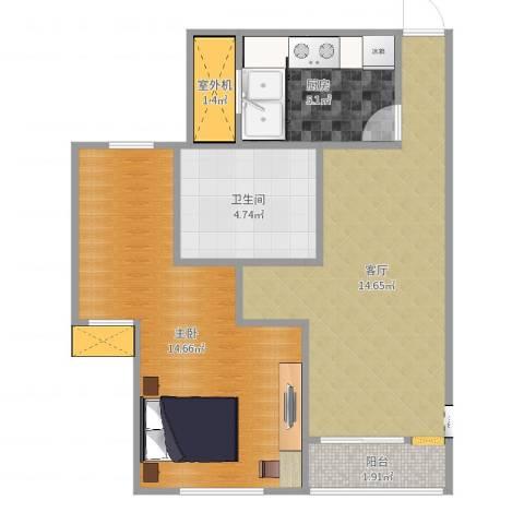 北城铭苑1室1厅1卫1厨53.00㎡户型图