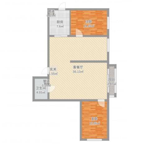 林华小区2室2厅1卫1厨125.00㎡户型图