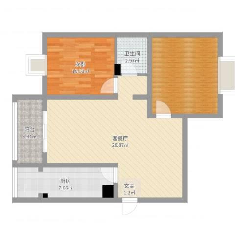 紫郡观澜1室2厅1卫1厨85.00㎡户型图