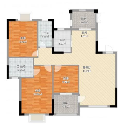乐仙小镇3室2厅2卫1厨144.00㎡户型图