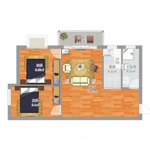 腾庆卡达凯斯山水城2室1厅1卫1厨68.00㎡户型图