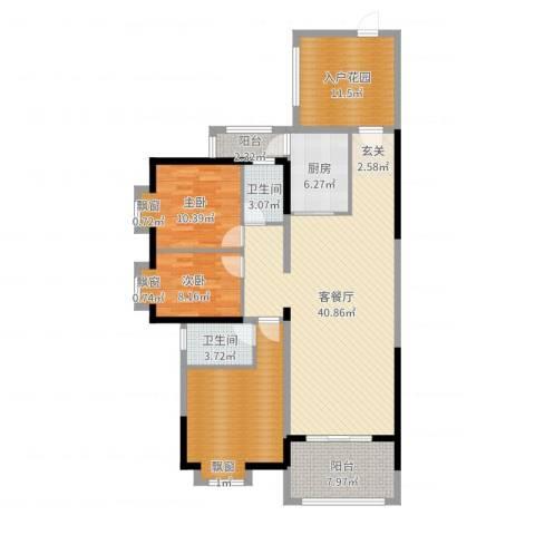 金碧湾花园2室2厅2卫1厨137.00㎡户型图