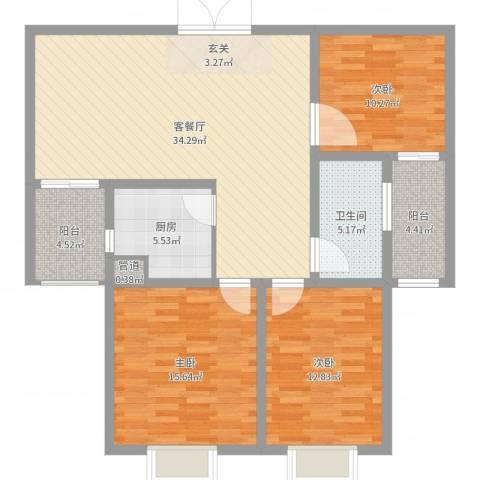 港岛玫瑰园3室2厅1卫1厨116.00㎡户型图