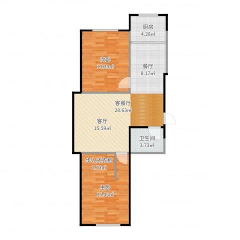 汇益华庭2室2厅1卫1厨82.00㎡户型图