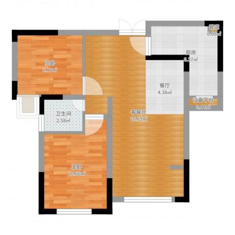 攀华国际广场2室2厅1卫1厨69.00㎡户型图
