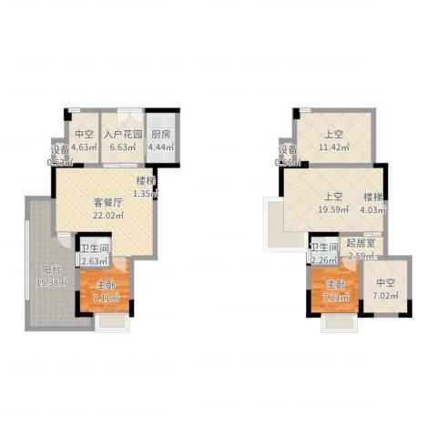 深业东城上邸2室2厅2卫1厨143.00㎡户型图