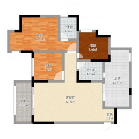 五星华府3室2厅2卫1厨115.00㎡户型图