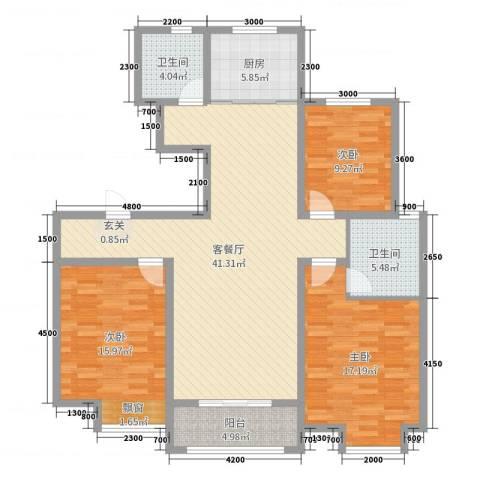 馨领地·城市风景3室2厅2卫1厨130.00㎡户型图