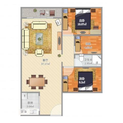 聚龙华府3室1厅1卫1厨89.00㎡户型图