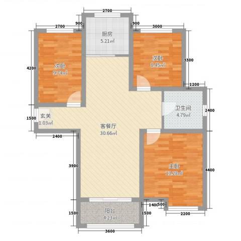 馨领地·城市风景3室2厅1卫1厨95.00㎡户型图