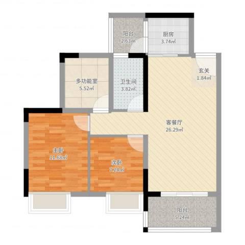 胜球阳光花园三期2室2厅1卫1厨83.00㎡户型图