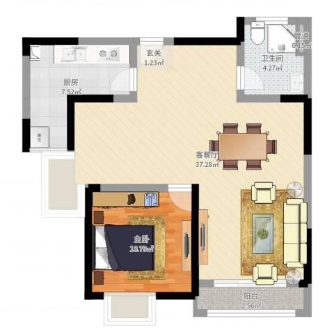 翰庭雅苑1室2厅1卫1厨78.00㎡户型图