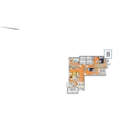 龙跃河山3室3厅1卫1厨105.00㎡户型图