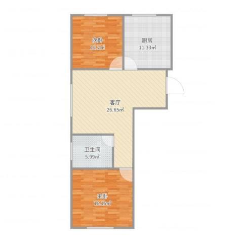 飞龙新苑2室1厅1卫1厨90.00㎡户型图