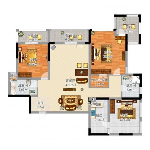 万科华庭3室2厅2卫1厨165.00㎡户型图