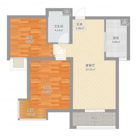长电时代花园2室2厅1卫1厨76.00㎡户型图