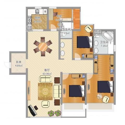 万科金域华府1室1厅2卫1厨162.00㎡户型图