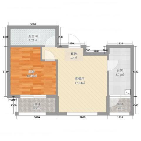 北京岭郡ONE1室2厅1卫1厨100.00㎡户型图