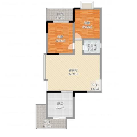 阳光水恋2室2厅1卫1厨106.00㎡户型图