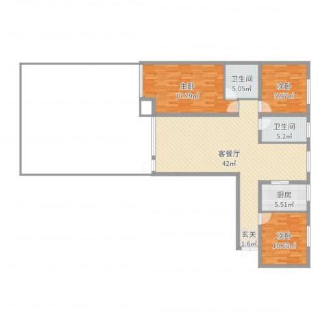 鑫和银座3室2厅2卫1厨120.00㎡户型图