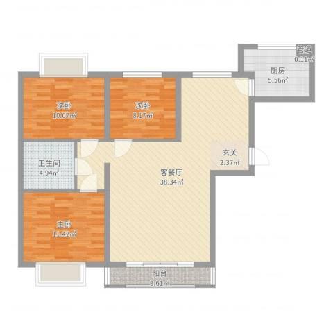 青洲豪庭3室2厅1卫1厨103.00㎡户型图