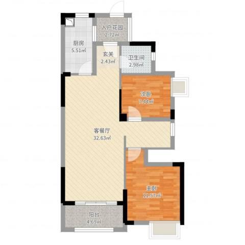 九江中航城2室2厅1卫1厨84.00㎡户型图