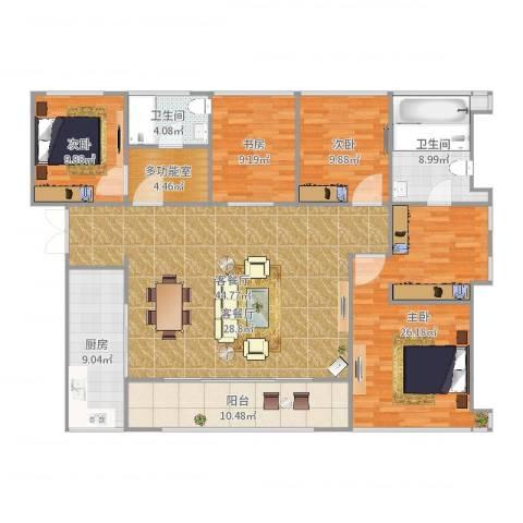 万科珠宾花园4室2厅2卫1厨171.00㎡户型图