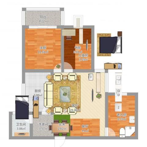 亚龙盛世嘉园3室1厅1卫1厨92.00㎡户型图