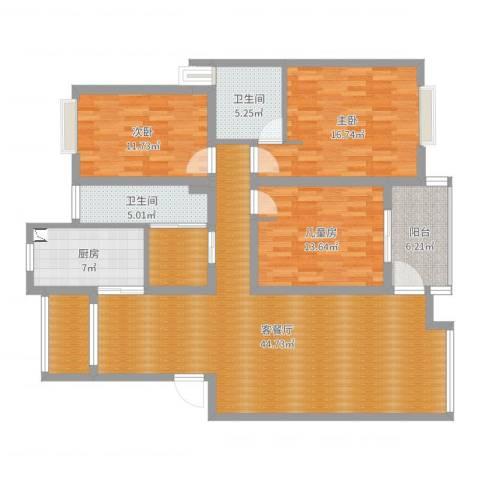山水人家3室2厅2卫1厨147.00㎡户型图