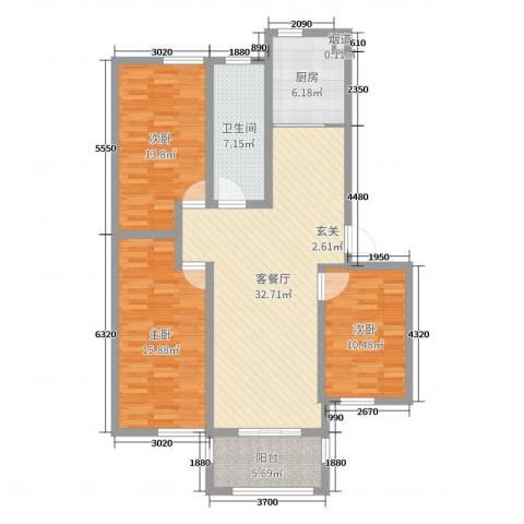 映像江南3室2厅1卫1厨115.00㎡户型图