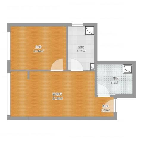 顺通家园1室2厅1卫1厨57.00㎡户型图