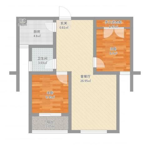 上城水岸2室2厅1卫1厨71.00㎡户型图