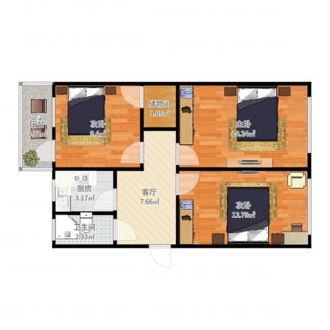 树德南里10-5-2063室1厅1卫1厨68.00㎡户型图