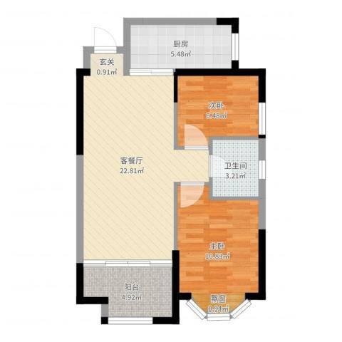 黄金家园2室2厅1卫1厨67.00㎡户型图