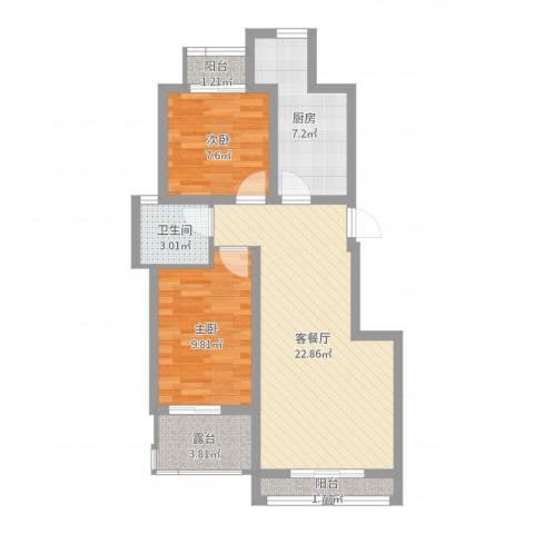天下荣郡2室2厅1卫1厨72.00㎡户型图