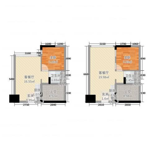 招商城市主场2室4厅2卫0厨64.88㎡户型图