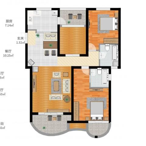 郦城国际2室2厅2卫1厨131.00㎡户型图