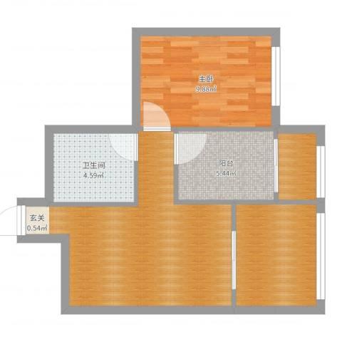 左安浦园1室0厅1卫0厨57.00㎡户型图