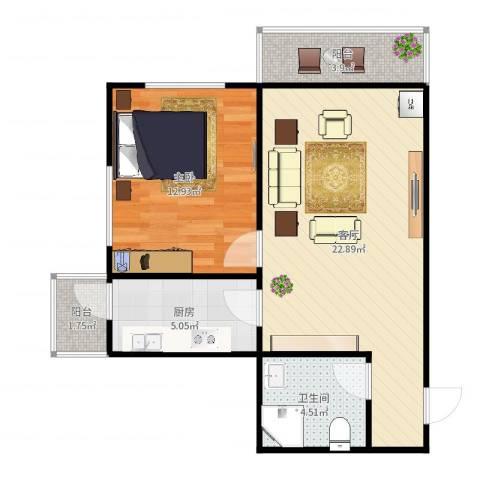吉利经典9-1-15021室1厅1卫1厨64.00㎡户型图