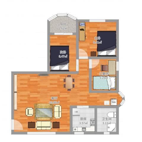 龙珠花园3室1厅1卫1厨75.00㎡户型图