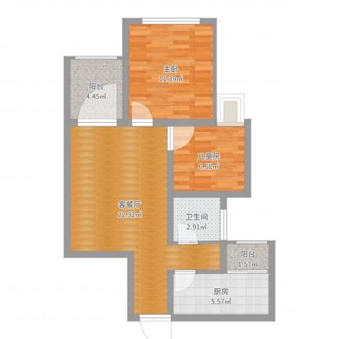经济技术开发区--简爱城2室2厅1卫1厨69.00㎡户型图