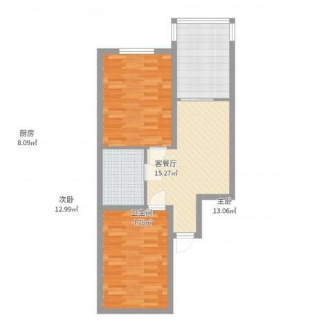 四季台北2室2厅1卫1厨77.00㎡户型图