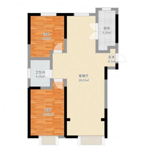 金桥大道2室2厅1卫1厨89.00㎡户型图