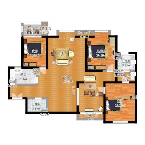 兴庆宫3室2厅6卫6厨152.00㎡户型图