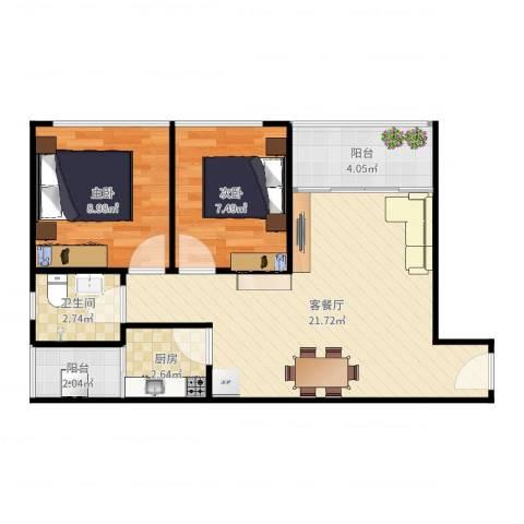丹枫雅苑2室2厅1卫1厨62.00㎡户型图