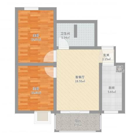 金色丽城2室2厅1卫1厨72.00㎡户型图